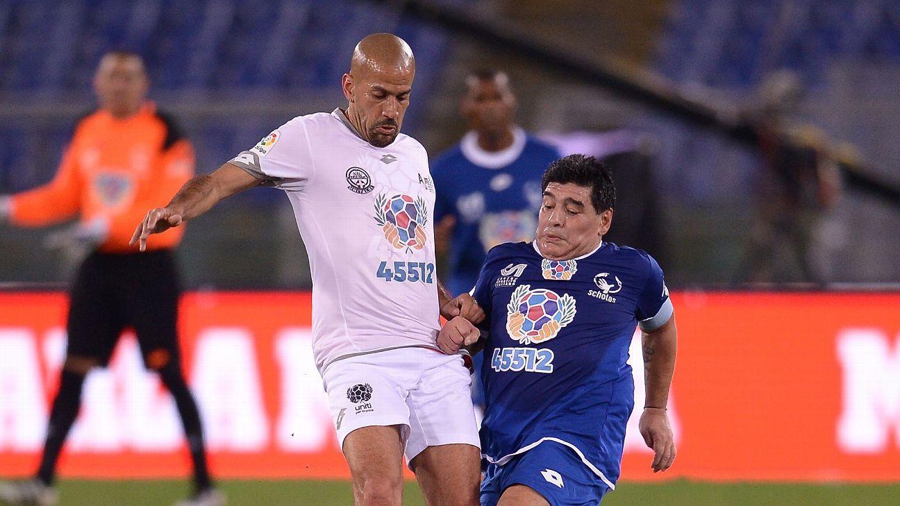 Trending Diego Maradona and Juan Sebastian Veron in heated