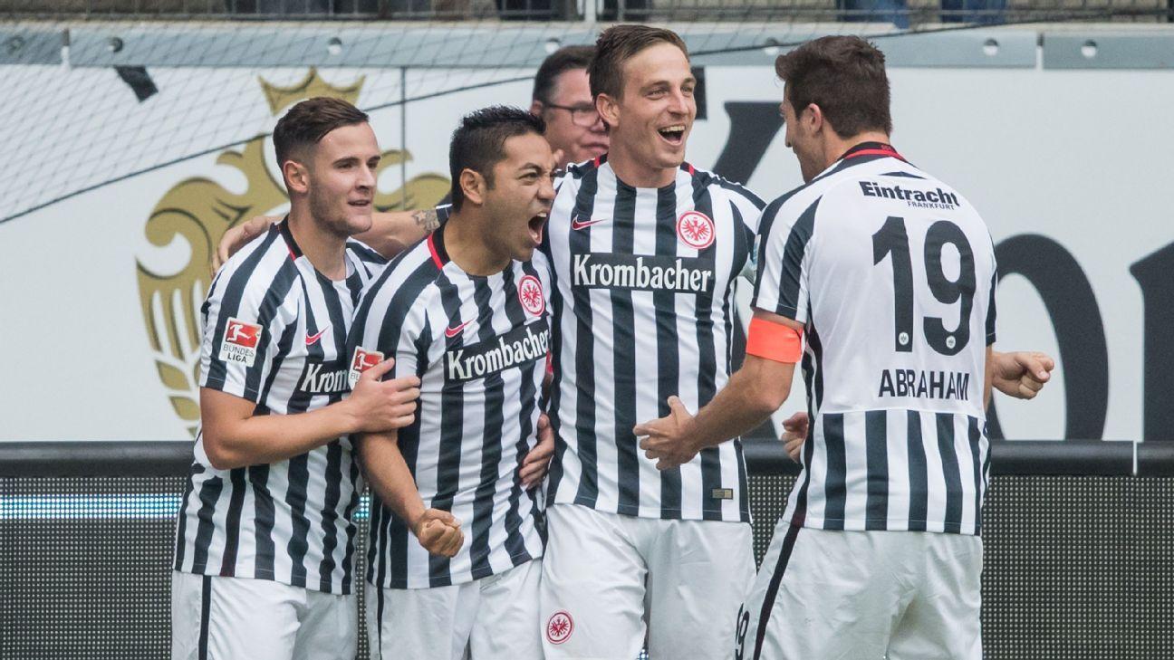 Marco Fabian celebrates his equaliser against Bayern Munich.