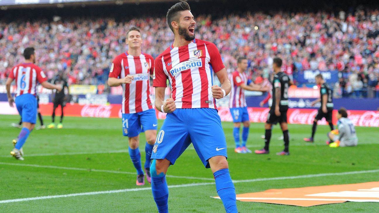 Yannick Carrasco celebrates his first goal against Granada.