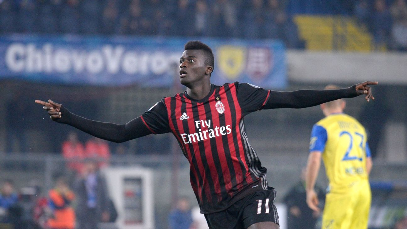 M'Baye Niang of AC Milan celebrates after scoring in a win against Chievo Verona.