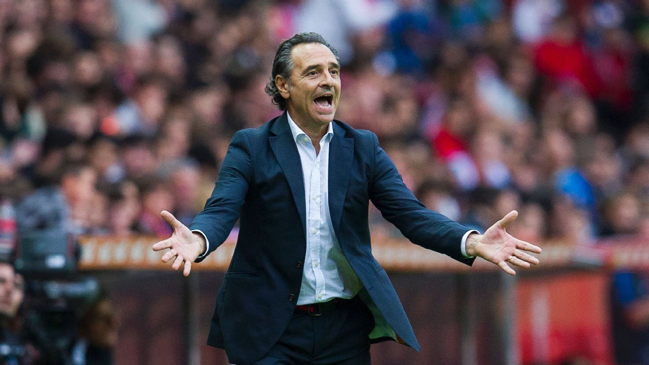 Head coach Cesare Prandelli of Valencia CF reacts during the La Liga match between Real Sporting de Gijon and Valencia CF at Estadio El Molinon on October 16, 2016 in Gijon, Spain.