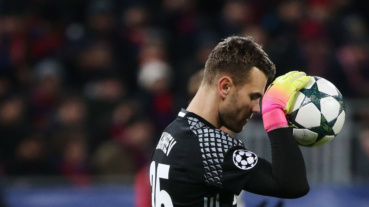 CSKA Moscow's h goalkeeper Igor Akinfeev in their 2016/17 Season UEFA Champions League Group E Round 3 football match against AS Monaco at the Arena CSKA Stadium.