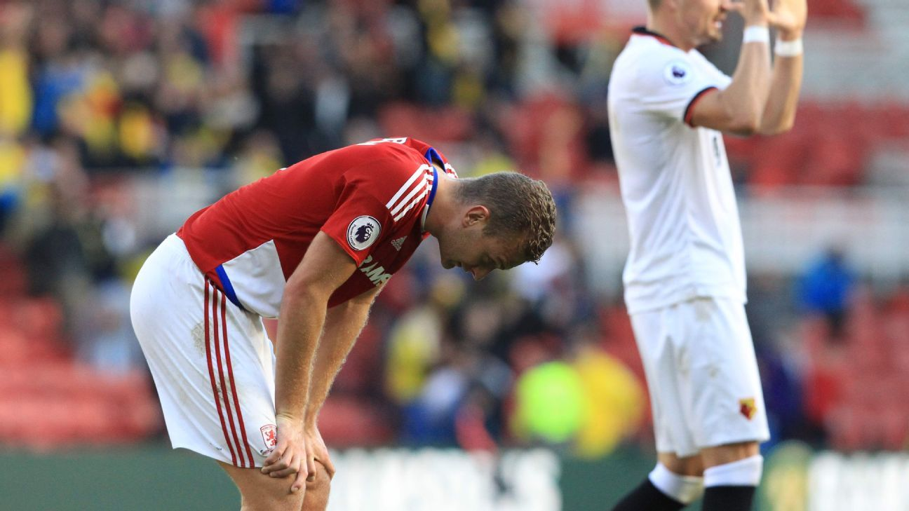 Middlesbrough's English defender Ben Gibson (L) reacts to their defeat at the final whistle in the English Premier League football match between Middlesbrough and Watford at Riverside Stadium in Middlesbrough, north east England on October 16, 2016. Watfo