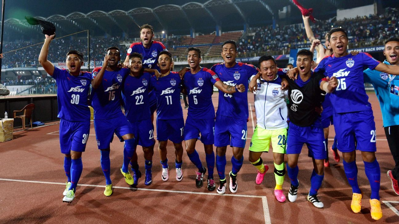 Bengaluru players after their win over Johor Darul Ta'zim in the second leg of the AFC Cup semi-final in October.