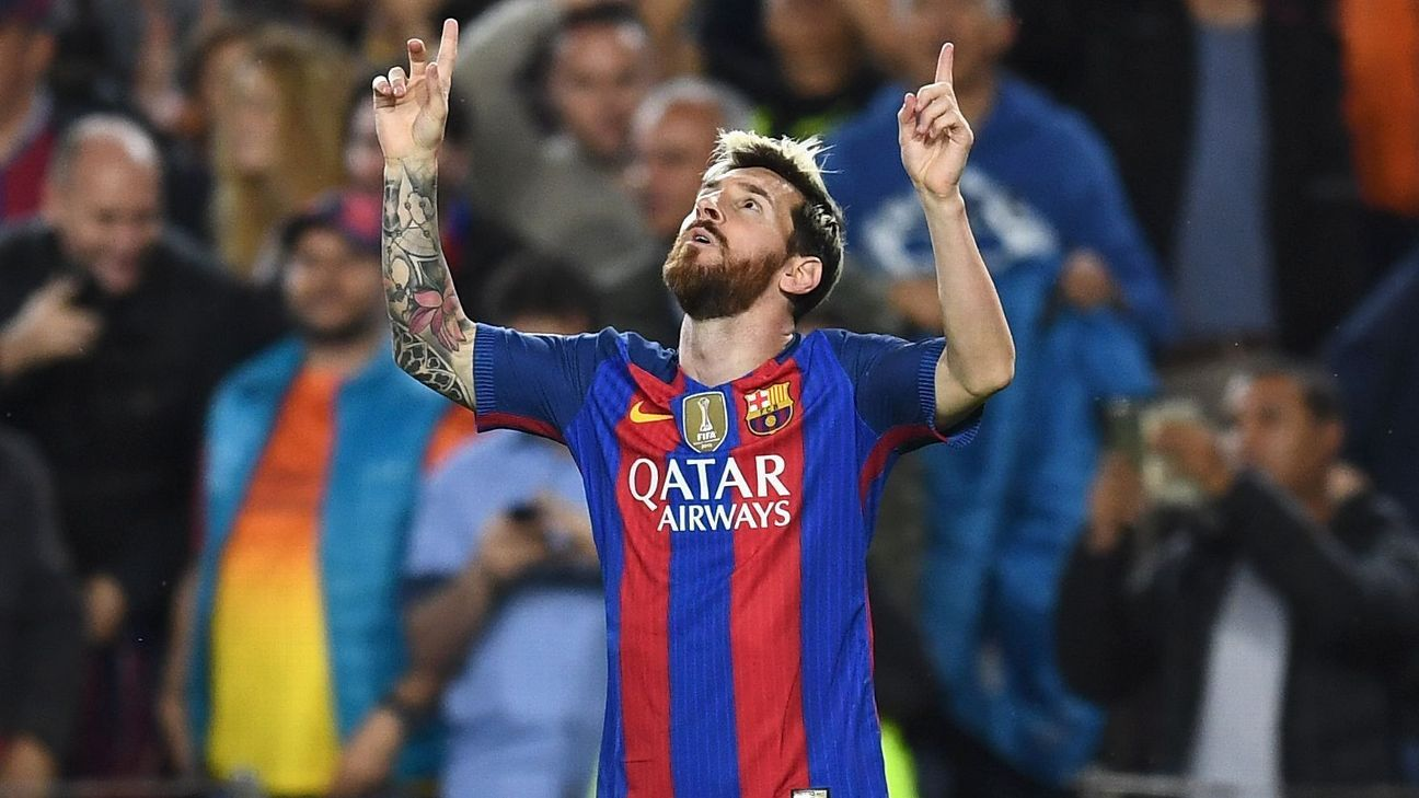 Lionel Messi celebrates the first of his three goals against Manchester City on Wednesday.