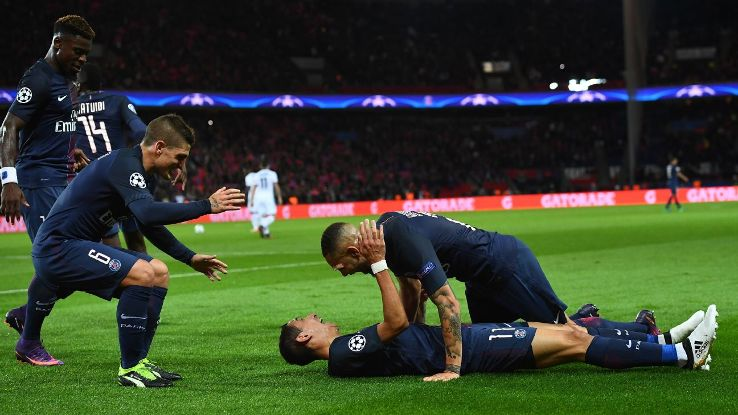 PSG celebrate after Angel Di Maria opened the scoring.
