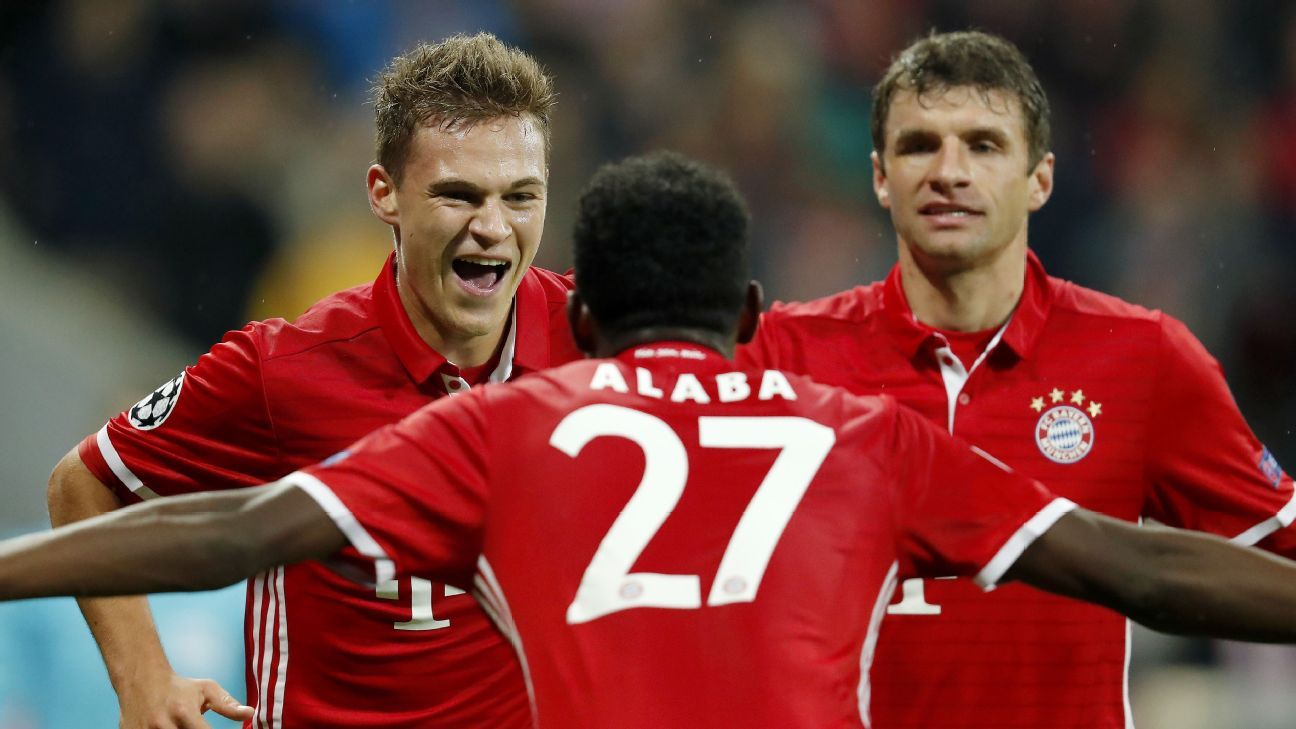Bayern celebrate after Joshua Kimmich scored.