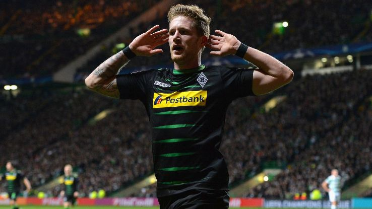 Andre Hahn celebrates after doubling Gladbach's lead