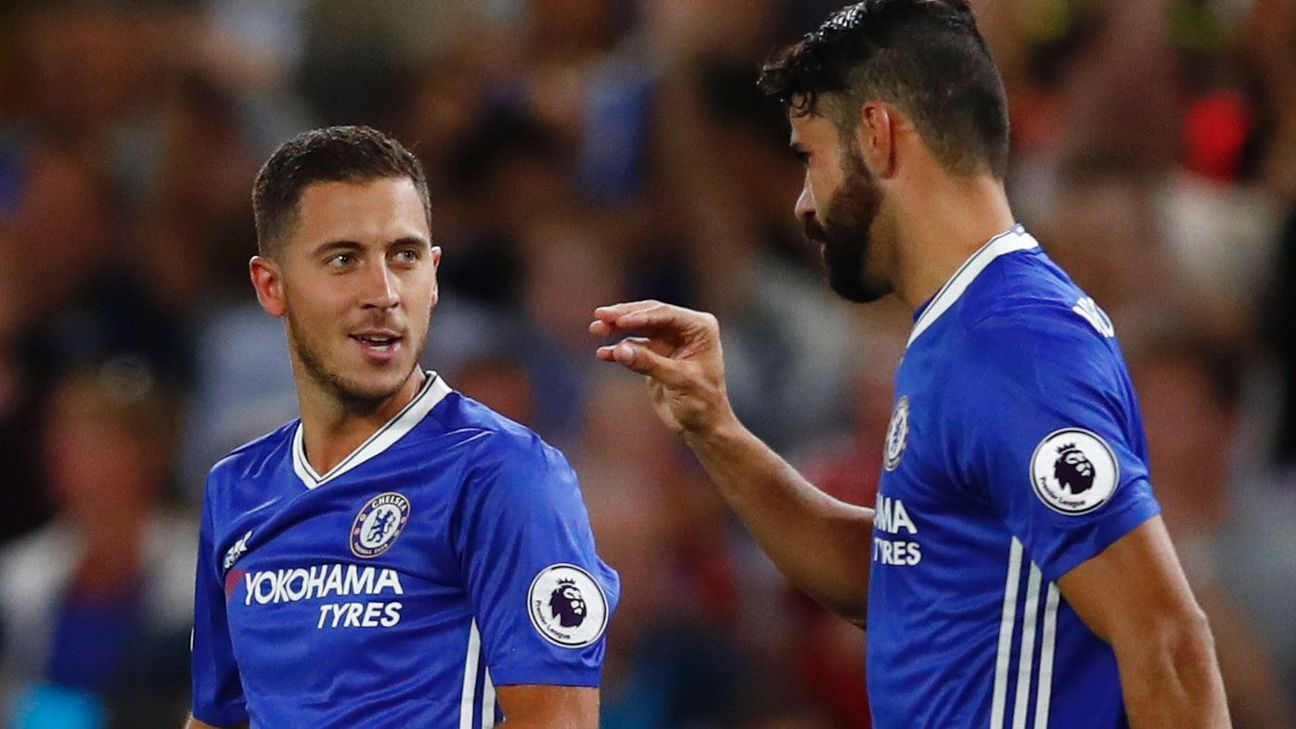 Britain Football Soccer - Chelsea v West Ham United - Premier League - Stamford Bridge - 15/8/16  Chelsea's Eden Hazard celebrates scoring their first goal with Diego Costa