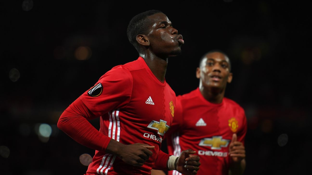Paul Pogba struck twice in the first half for Manchester United.