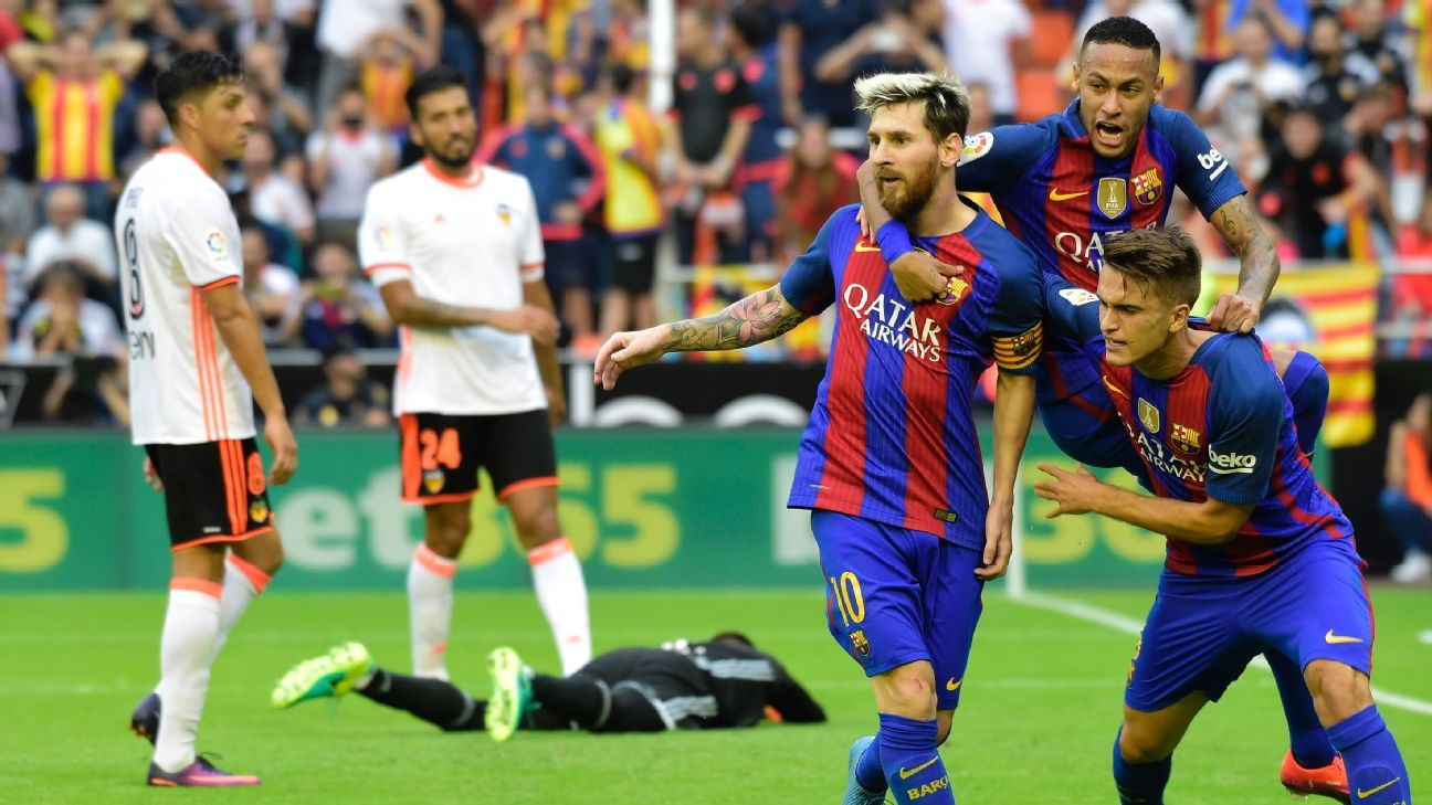 Barcelona needed a late penalty from Lionel Messi to win at Valencia.