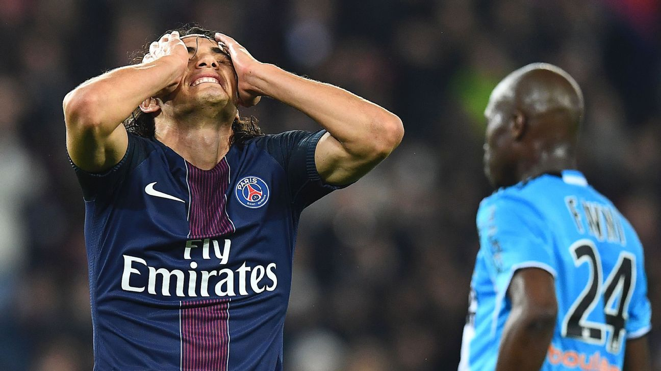 Edinson Cavani and PSG struggled against Marseille on Sunday.