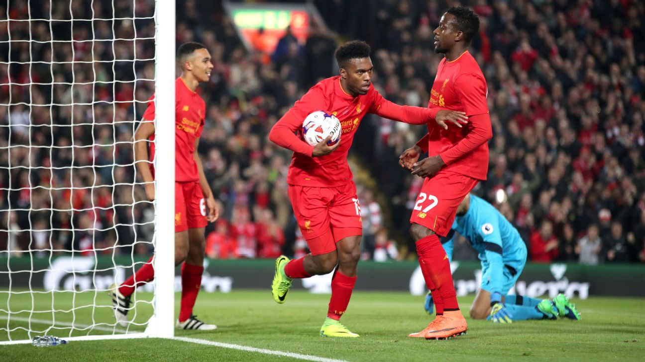 Daniel Sturridge celebrates his goals.