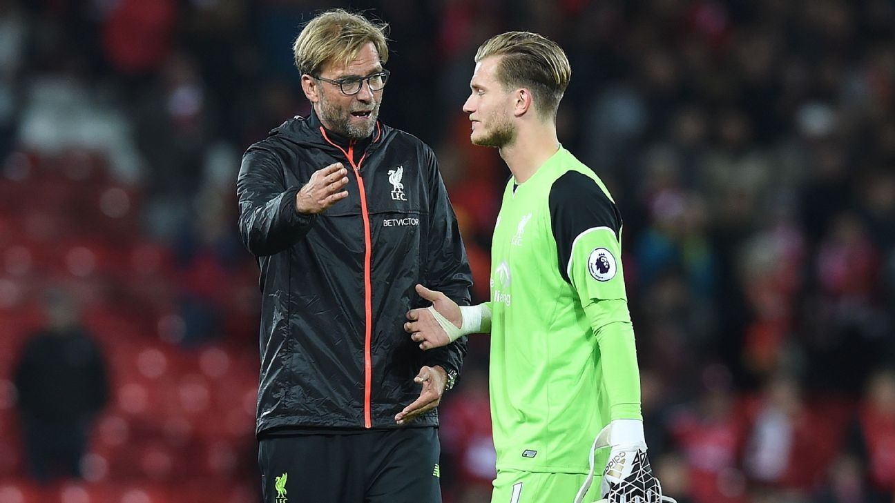 Jurgen Klopp and Loris Karius