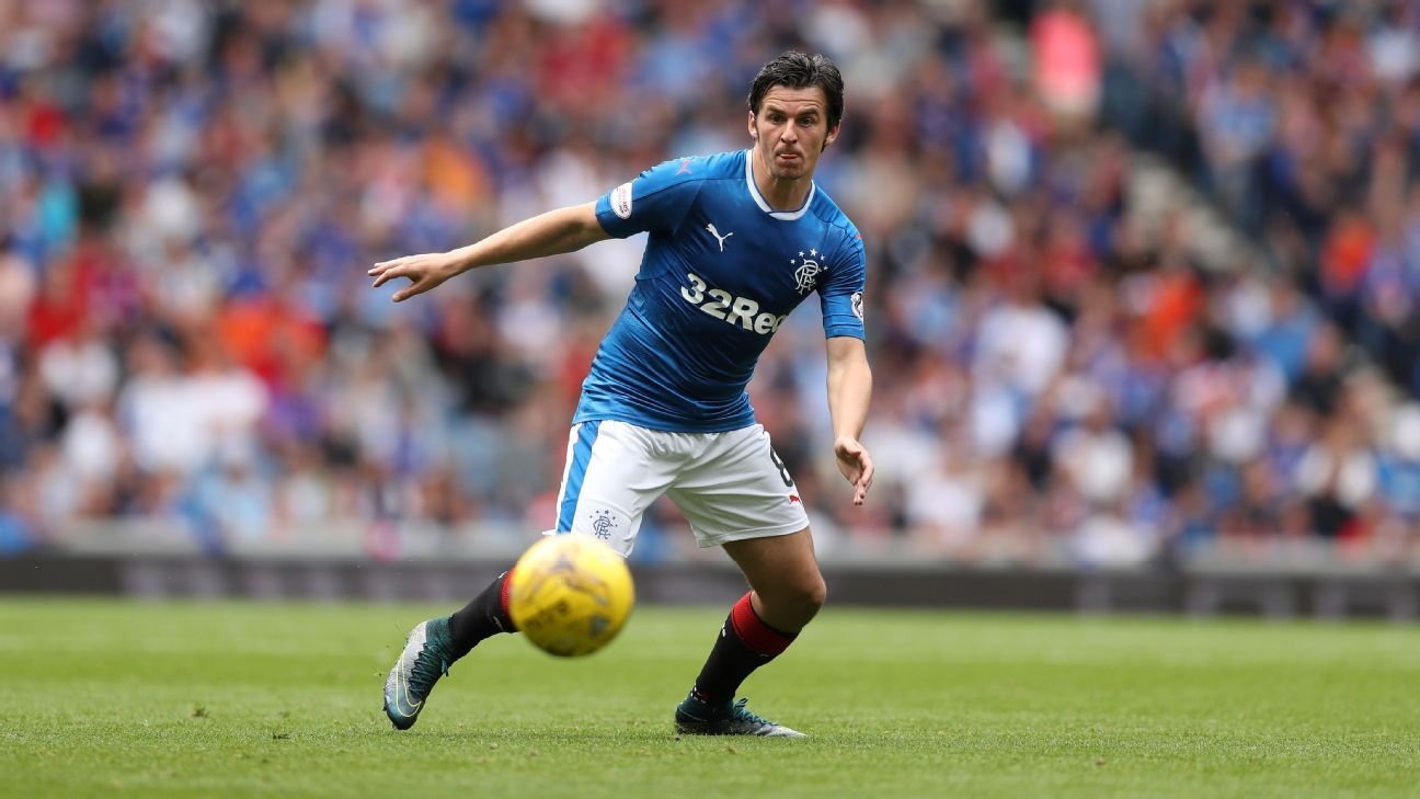 Joey Barton of Rangers  during the Ladbrokes Scottish Premiership match between Rangers and Hamilton Academical at Ibrox Stadium on August 6, 2016 in Glasgow, Scotland.