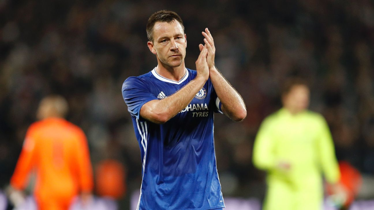 Chelsea's John Terry applauds their fans after the match