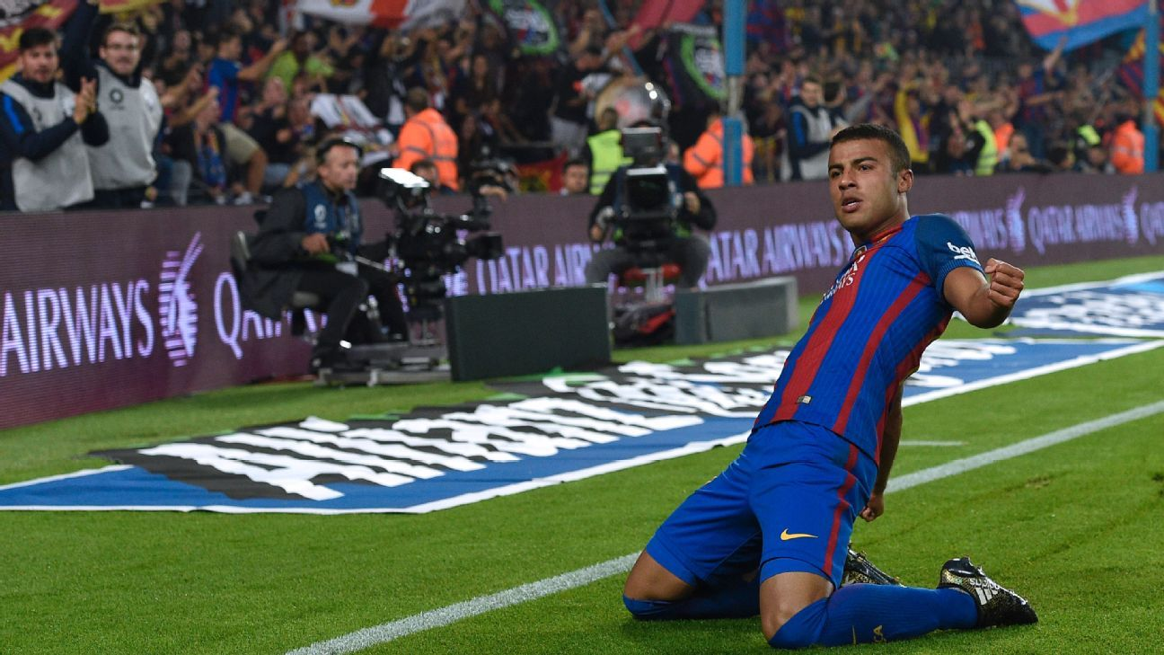Rafinha celebrates after scoring a goal for Barcelona against Granada.