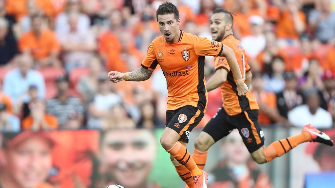 Jamie Maclaren of the Roar controls the ball during the round four A-League match between the Brisbane Roar and Perth Glory at Suncorp Stadium on October 30, 2016 in Brisbane, Australia.