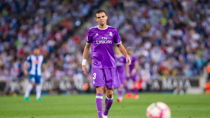 Pepe during the match between RCD Espanyol vs Real Madrid, for the round 4 of the Liga Santander, played at RCD Espanyol Stadium on 18th Sep 2016 in Barcelona, Spain.