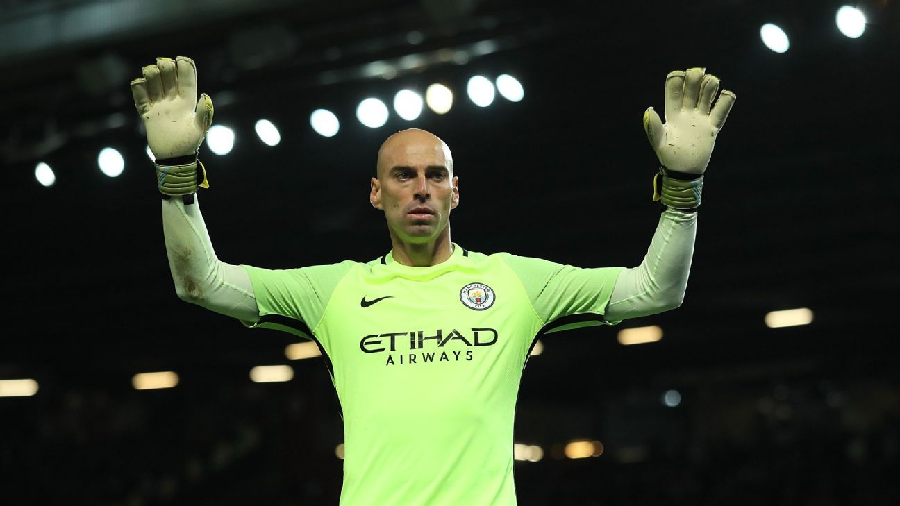 Willy Caballero of Manchester City looks on during the EFL Cup Fourth Round match between Manchester United and Manchester City at Old Trafford on October 26, 2016 in Manchester, England.