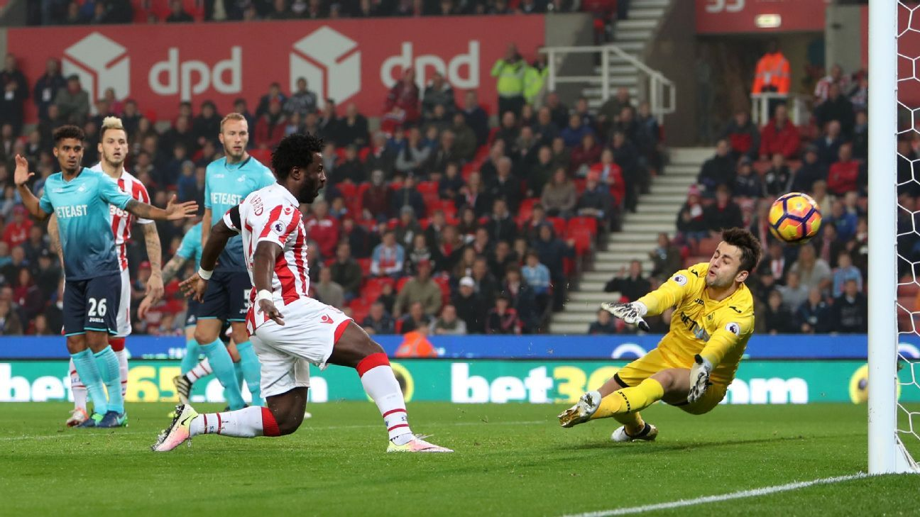 Wilfried Bony scored twice as Stoke defeated Swansea on Monday.