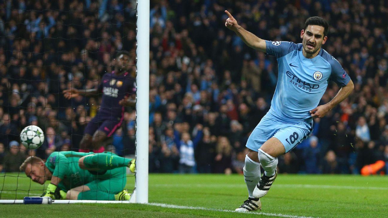 Ilkay Gundogan scored twice to rally Man City to victory.