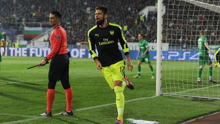Olivier Giroud celebrates after levelling the score for Arsenal against Ludogorets in the Champions League.