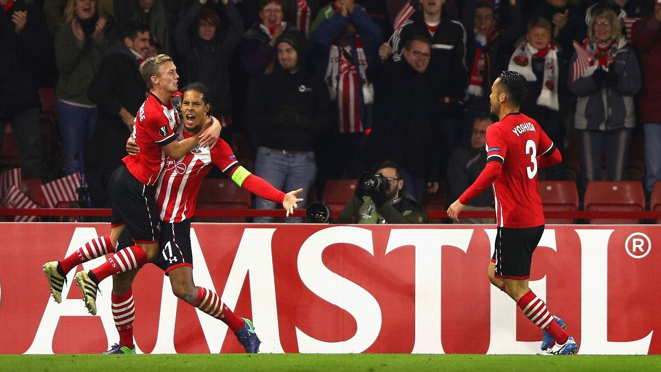 Virgil van Dijk celebrates after scoring Southampton's first goal during the Europa League win against Inter.