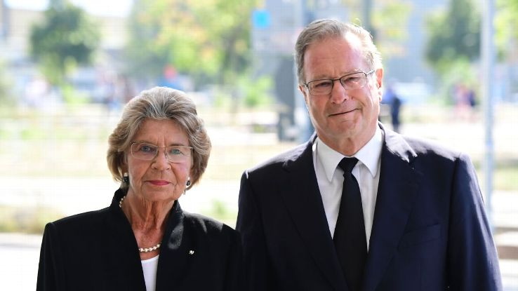 German politician and member of the free democratic FDP party Klaus Kinkel and Barbara Genscher, widow of former West German Vice Chancellor and Foreign Minister Hans-Dietrich Genscher, arrive for a state funeral of Walter Scheel on September 7, 2016.