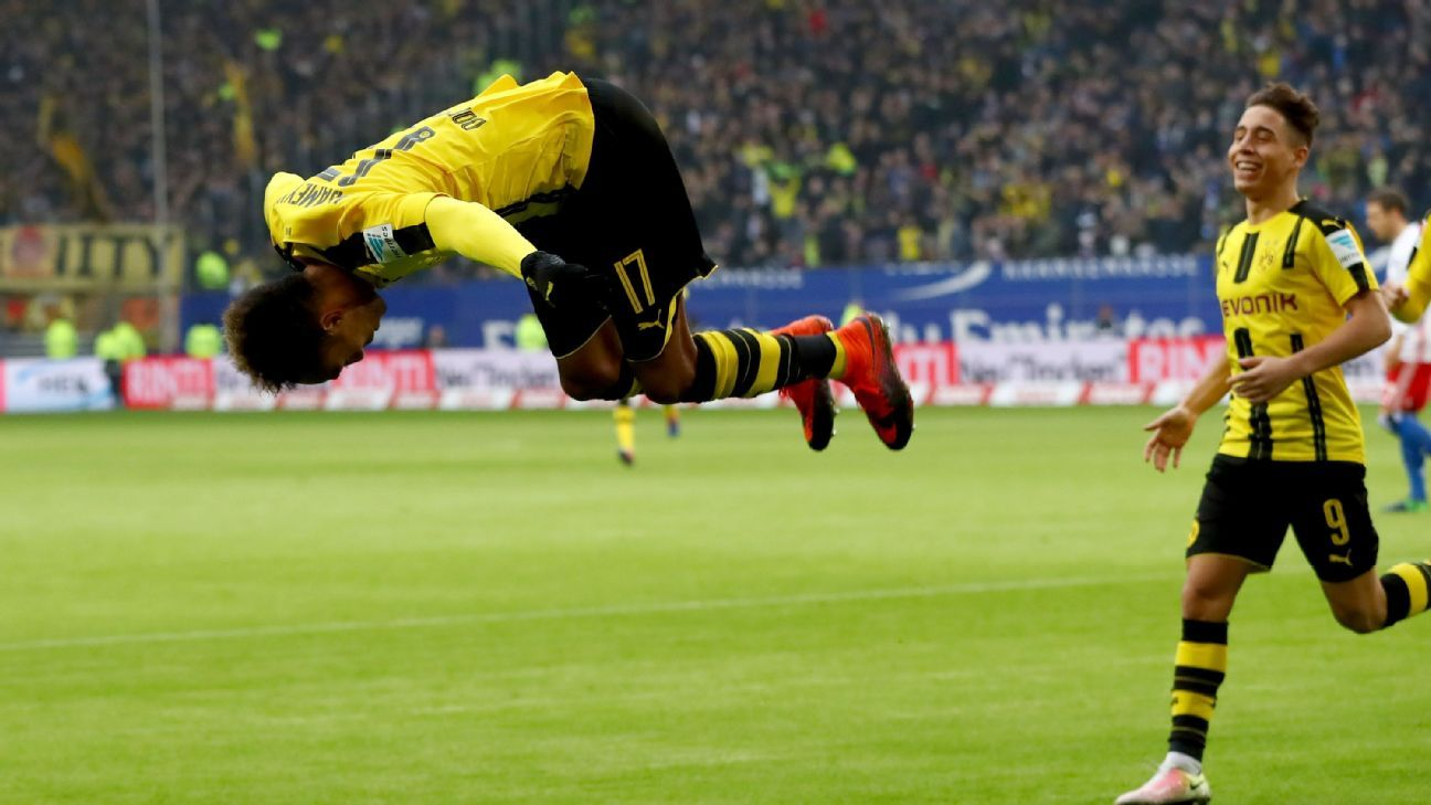 Pierre-Emerick Aubameyang celebrates after netting the first of his four goals.