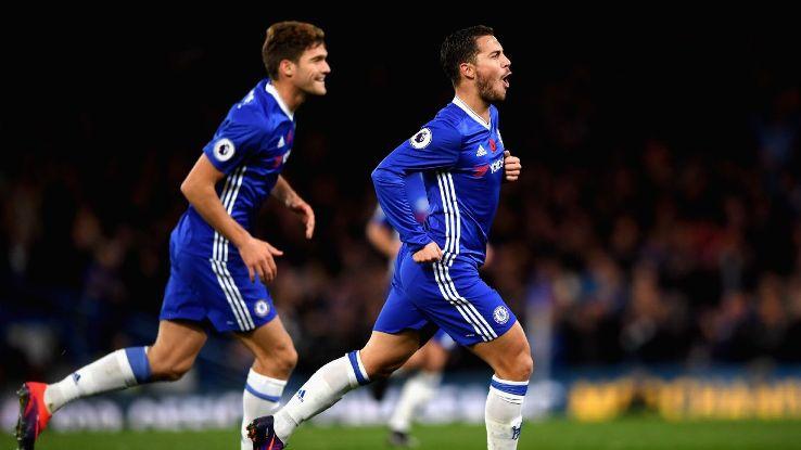 Eden Hazard hit a brace against Everton at Stamford Bridge.