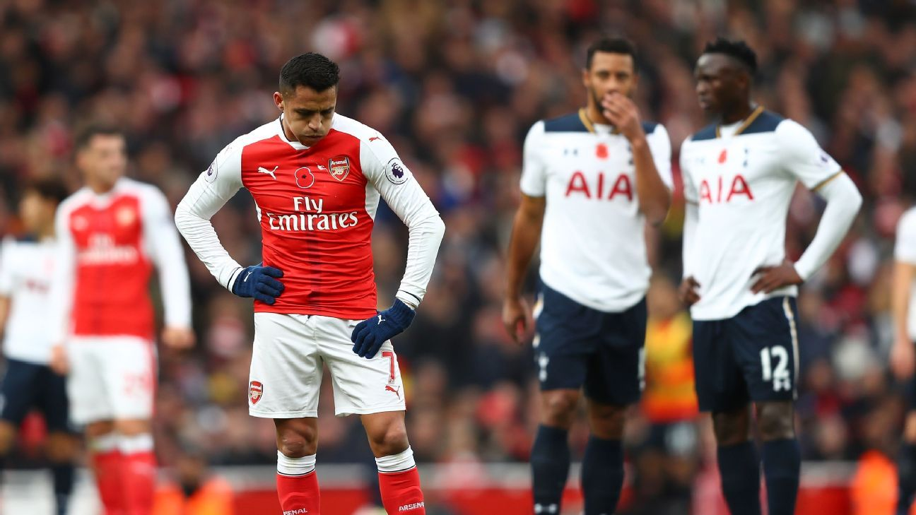 Alexis Sanchez reacts during the Premier League match between Arsenal and Tottenham Hotspur.