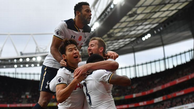 Tottenham's Harry Kane celebrates after scoring against Arsenal in the North London derby.