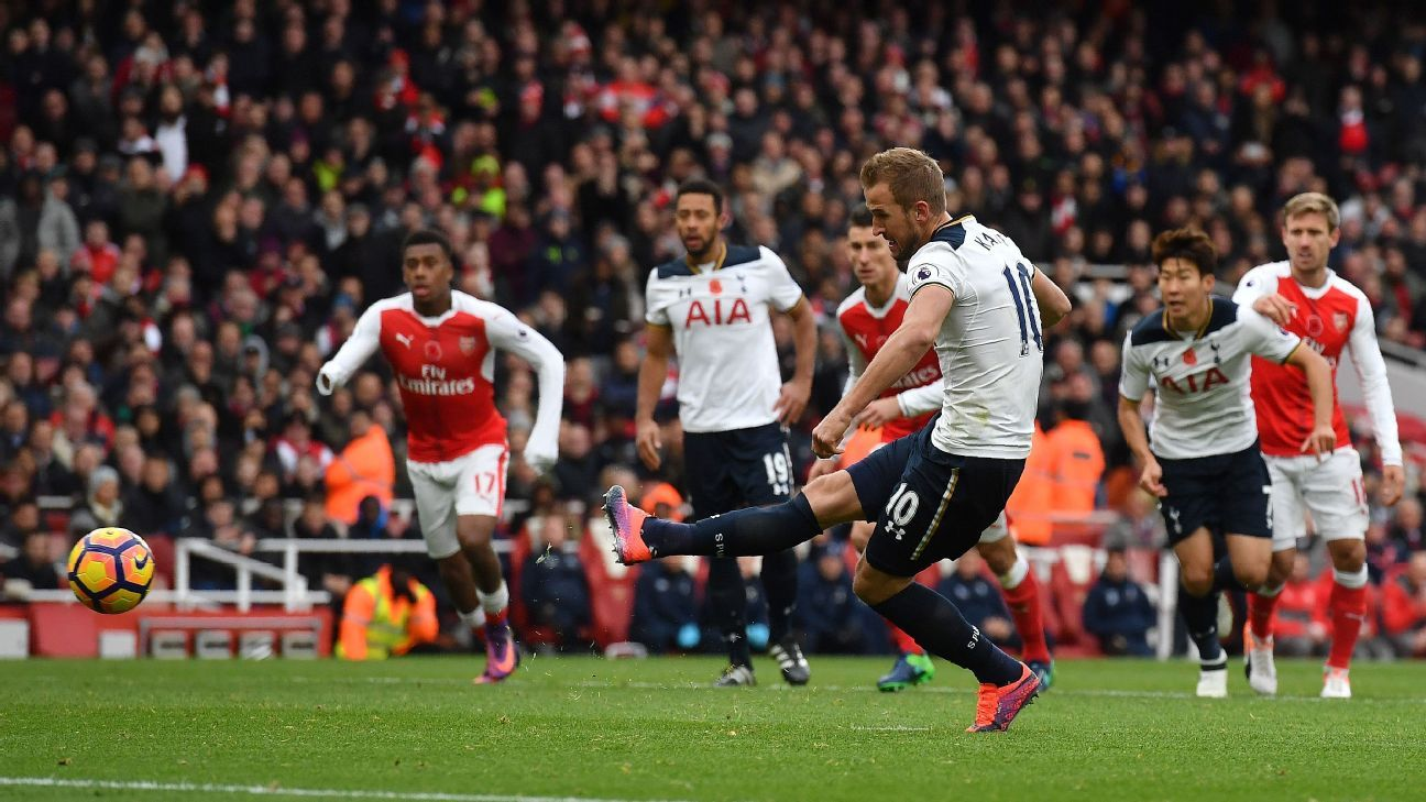 Harry Kane shoots from the penalty spot to score during the Premier League match between Arsenal and Tottenham Hotspur.
