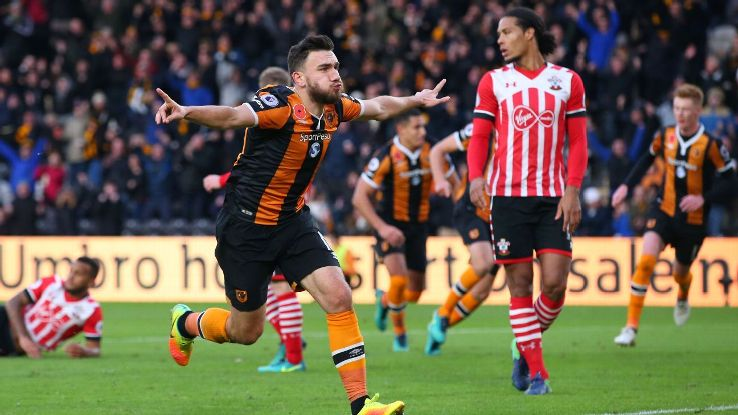 Robert Snodgrass of Hull City celebrates scoring against Southampton.