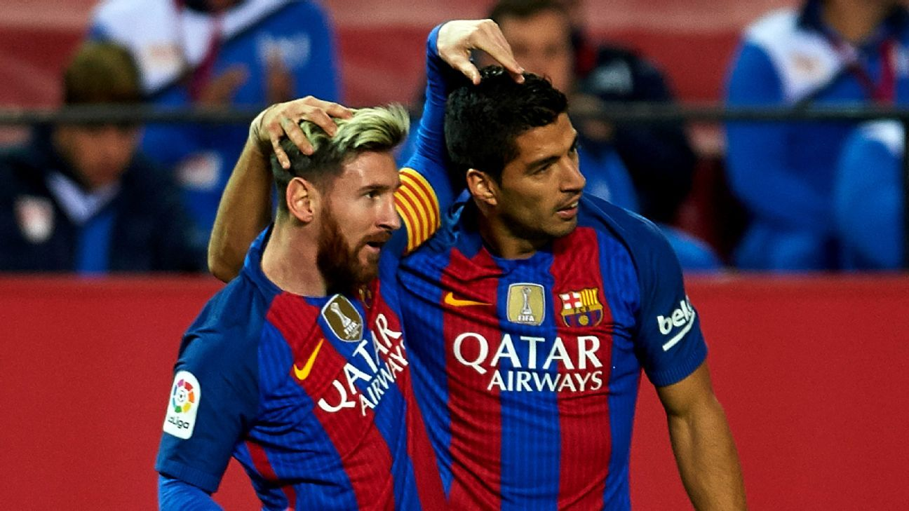 Lionel Messi and Luis Suarez led Barcelona back in a thriller against Sevilla.