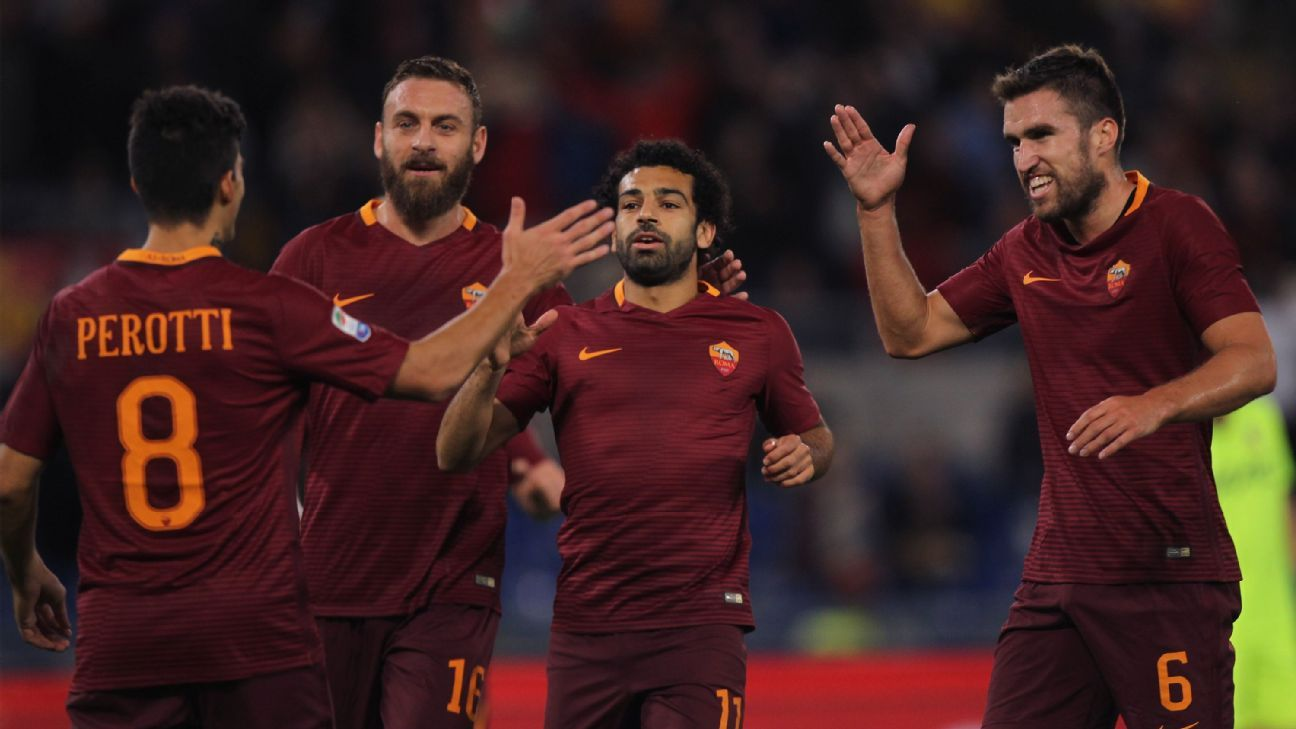 Mohamed Salah scored a hat trick in Roma's 3-0 defeat of Bologna on Sunday.