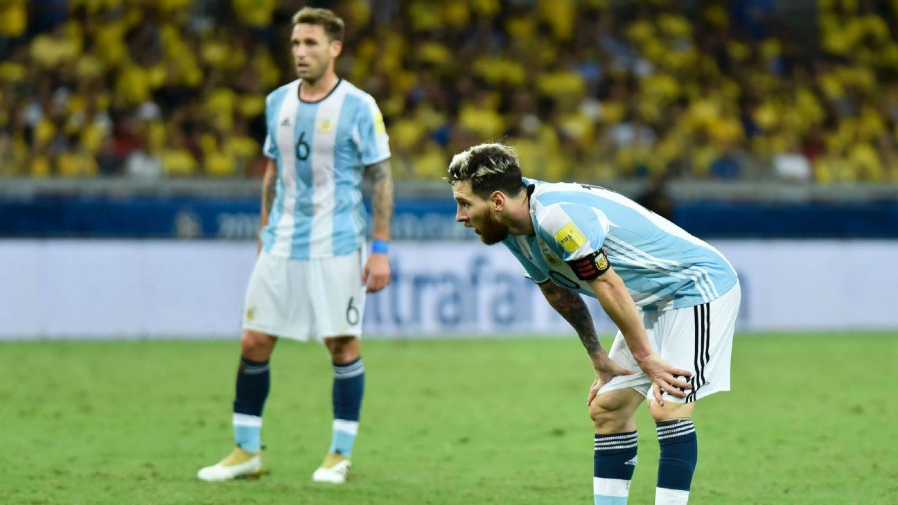 Argentina forward Lionel Messi vs. Brazil