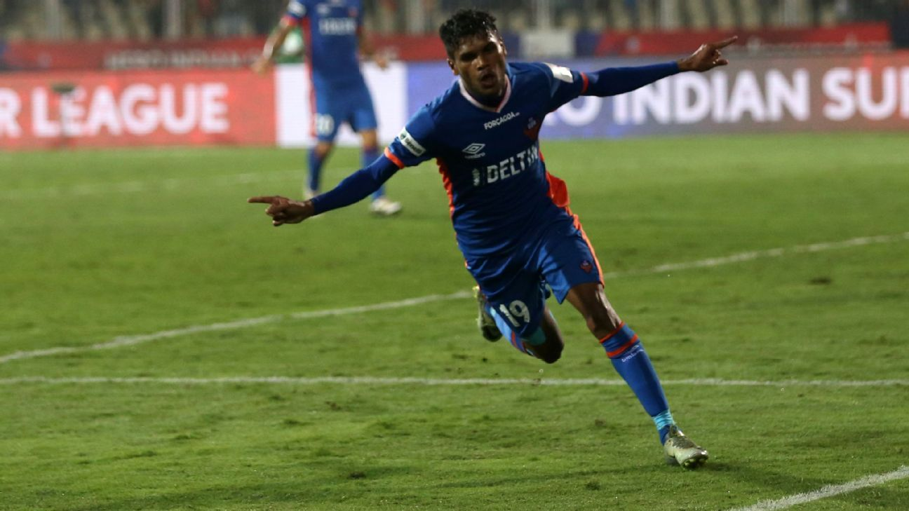 Romeo Fernandes after scoring the winner against NorthEast United.