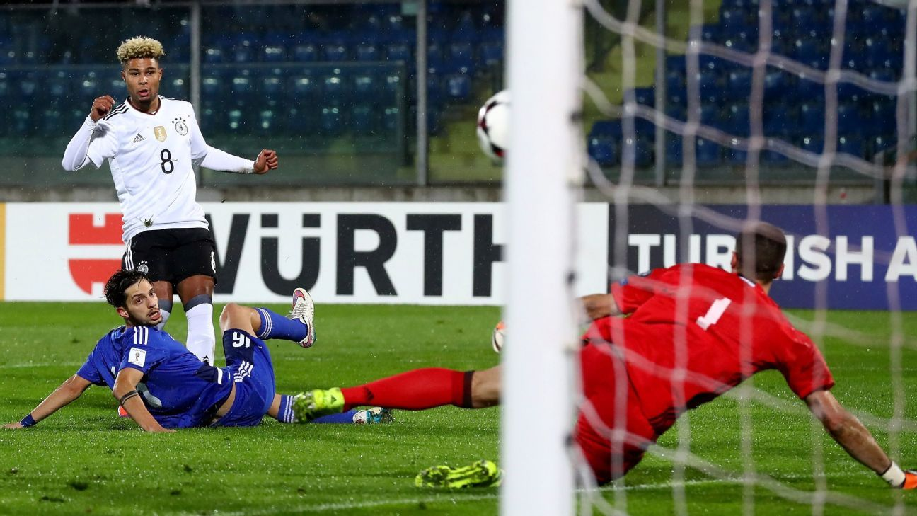 Serge Gnabry scores his first against San Marino.