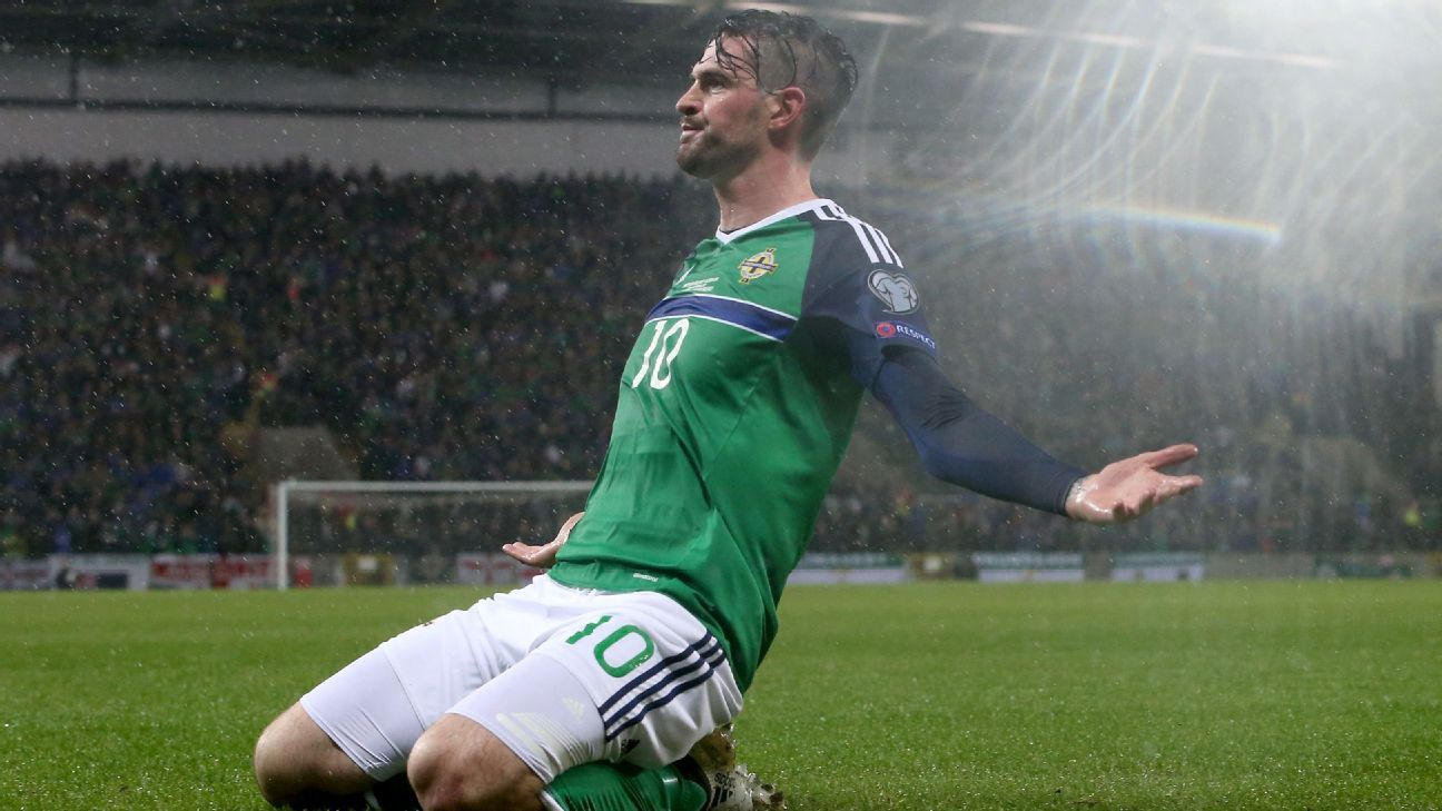 Kyle Lafferty celebrates after netting the opening goal.