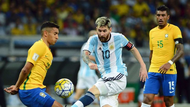 Marquinhos and Lionel Messi in action during a match between Argentina and Brazil as part of FIFA 2018 World Cup qualifier.