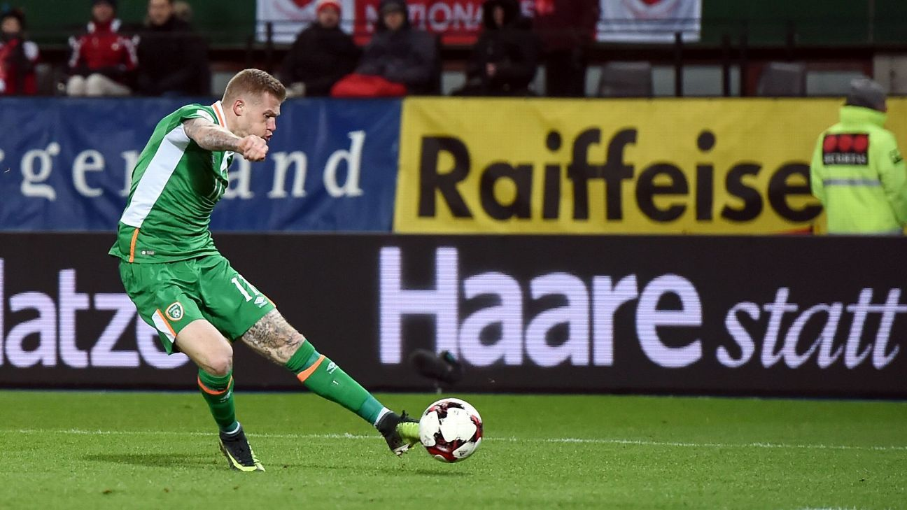 James McClean scores for Republic of Ireland in their World Cup qualifier against Austria.