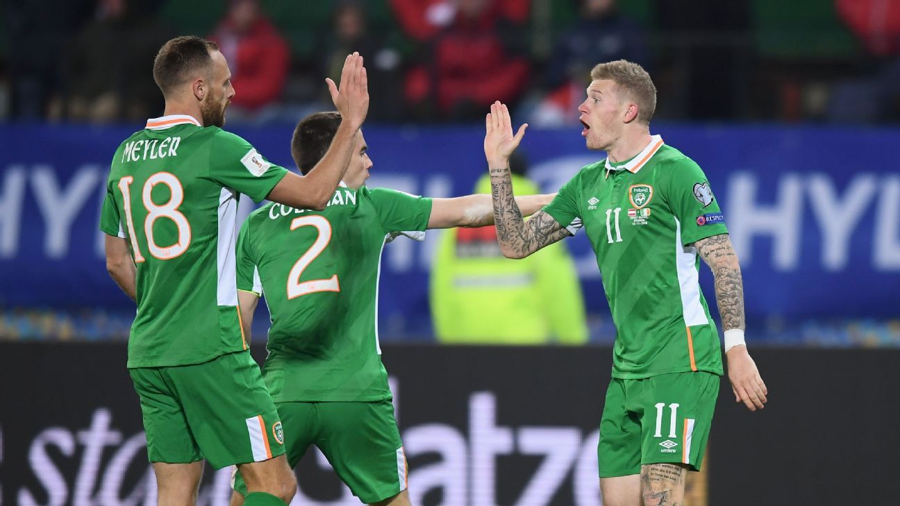 Republic of Ireland players celebrate a goal in their World Cup qualifier against Austria.