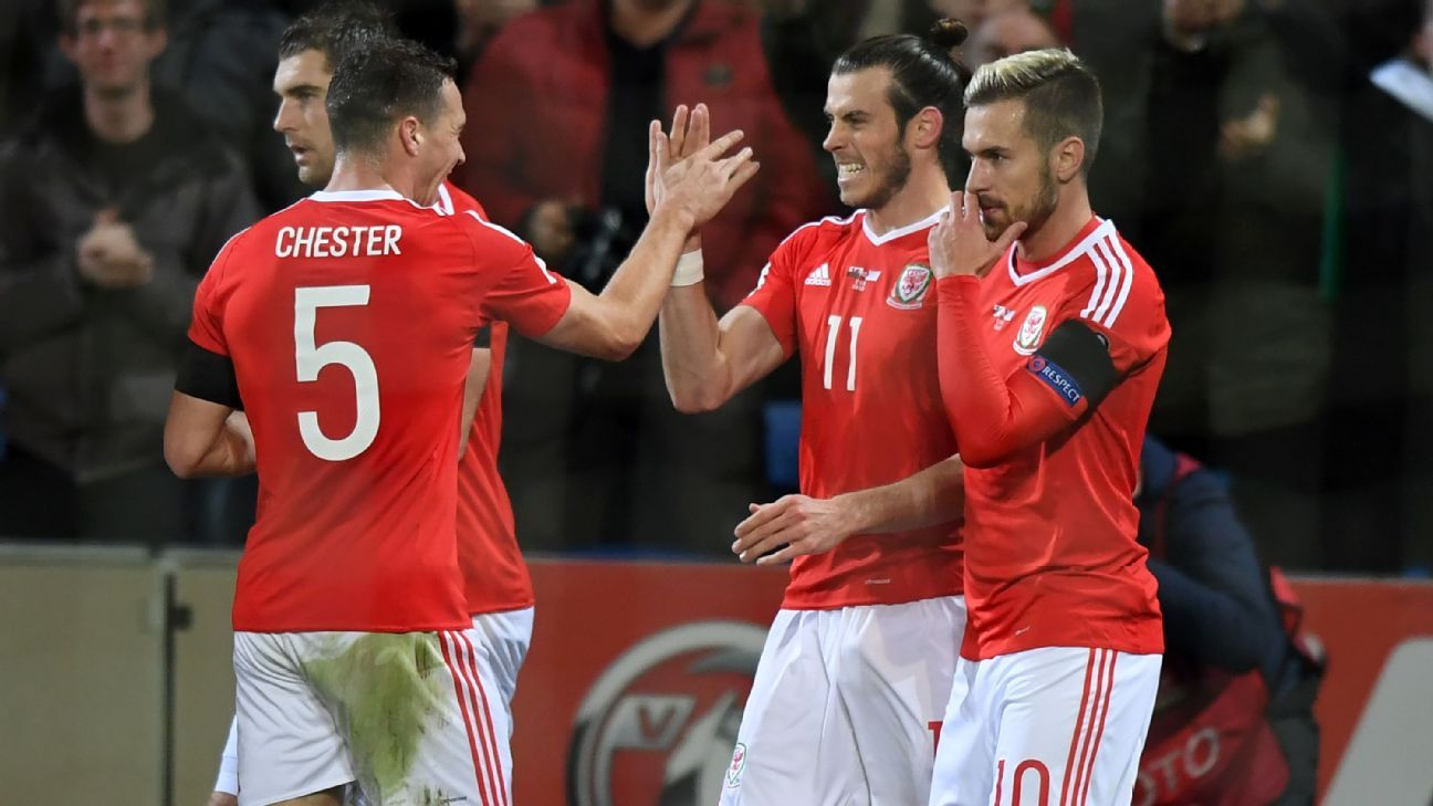 Gareth Bale celebrates after opening the scoring for Wales in a 1-1 draw with Serbia.