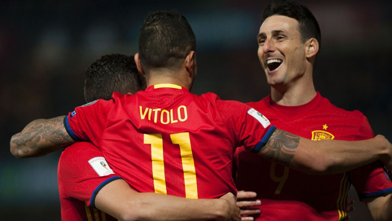 Vitolo celebrates after doubling Spain's lead in an easy win against Macedonia.