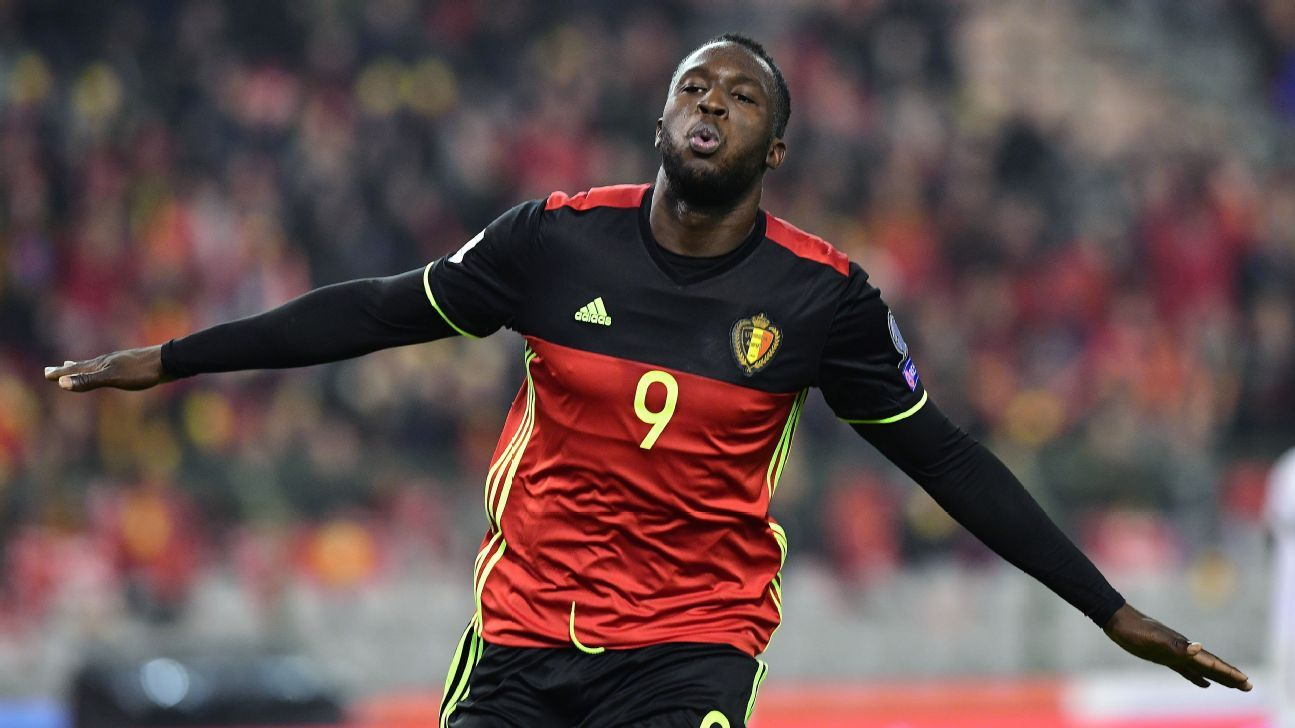 Romelu Lukaku celebrates one of his two goals against Estonia on Sunday.