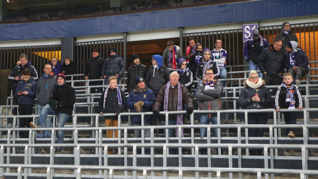 Anderlecht fans on the safe standing terraces of the Constant Vanden Stock Stadium during the Europa League match against Olympiakos.