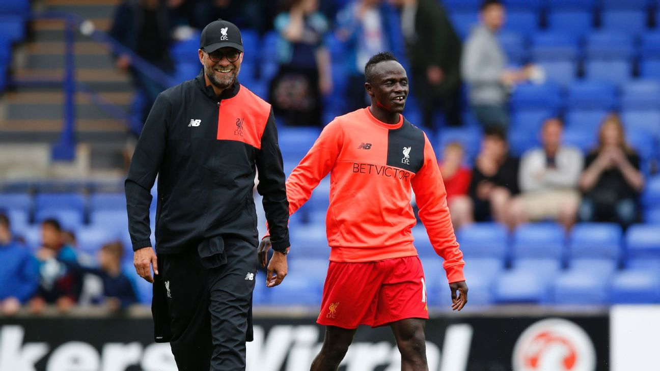 Britain Football Soccer - Tranmere Rovers v Liverpool - Pre Season Friendly - Prenton Park - 8/7/16  Liverpool manager Juergen Klopp and Saido Mane before the match