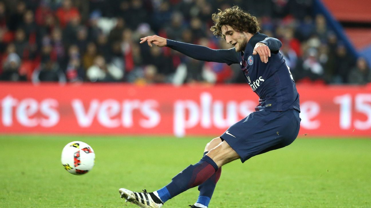 Adrien Rabiot of PSG in action during the French Ligue 1 match against Rennes.